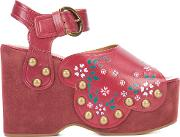 Dawn Wedge Sandals Women Leatherrubbersuede 38, Red