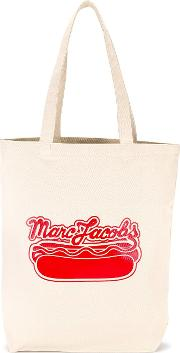 Logo Hot Dog Print Tote Men Cotton One Size, Nudeneutrals