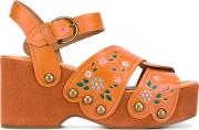 Wildflower Wedge Sandals Women Leatherrubber 39, Yelloworange