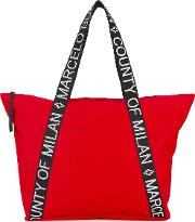 Branded Strap Tote Women Cottonpolyester One Size, Red