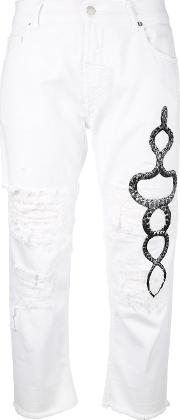 Cropped Ripped Printed Snake Jeans Women Cotton