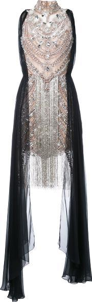 Embellished Fringe Cocktail Dress Women Silknylonspandexelastane 6, Women's, Nudeneutrals
