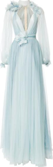 Marchesa Billowing Floral Detail Gown Women Silkpolyester 10, Blue