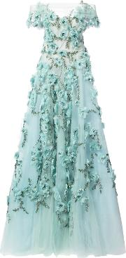 Marchesa Floral Embellished Evening Dress Women Silknylon 4, Green