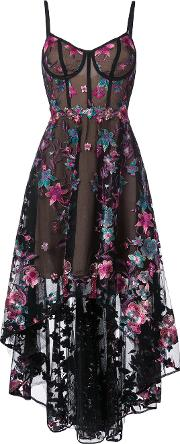 Floral Embroidered High Low Dress Women Nylon 8, Black