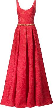 Rose Pattern Gown Women Polyester 6, Red