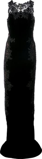 Textured Lace Detail Dress Women Silkvelvetglass