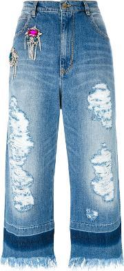 Crystal Embellished Cropped Raw Jeans Women Cotton 42, Women's, Blue