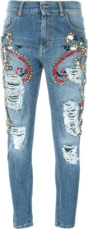 Distressed Skinny Jeans Women Cottonmetal Other glass 40, Women's, Blue