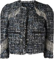 Fringed Detail Cropped Jacket Women Polyester 40, Black