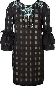 Grid Puff Sleeve Dress Women Polyester 44, Women's, Black
