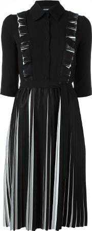 Pleated Longsleeved Dress Women Polyester 40, Women's, Black