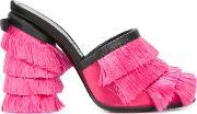 Fringed Mules Women Leathernylon 37, Women's, Pink