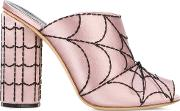 Spider Web Mules Women Leathersilk Satin 39, Pinkpurple