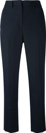 Margaret Howell Cropped High Waist Trousers Women Linenflax 14, Blue