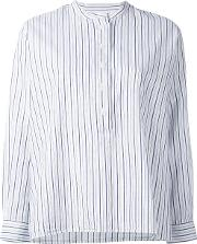 Striped Collarless Blouse