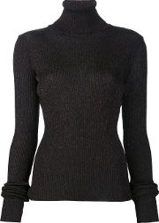 'shimmery' Ribbed Turtleneck Pullover Women Nylonpolyesteracetate M, Black