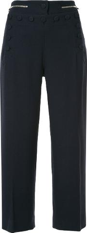 Button Detail Cropped Trousers
