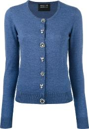 Jewel Button Cardigan Women Merinoplastic Xs, Blue
