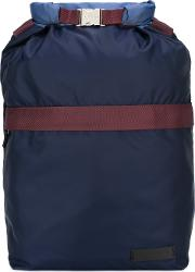 Colour Block Backpack Men Cottonleatherpolyamide One Size, Blue
