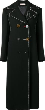 Long Contrast Stitching Peacoat