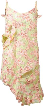 Marques'almeida Floral Lace Ruffle Dress Women Cottonpolyesterpolyamide 8 S, Green