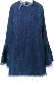 Marques'almeida Frayed Denim Dress With Bell Sleeves Women Cotton M