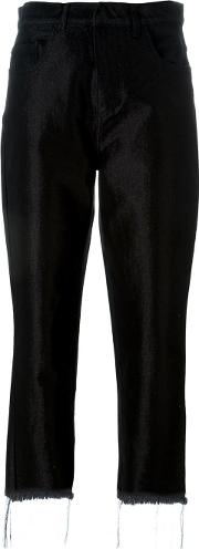 Marques'almeida Frayed Hem High Rise Cropped Trousers Women Cottonpolyethylenerayon 12, Black