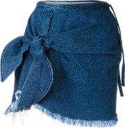 Marques'almeida Knot Detail Denim Skirt Women Cotton 6, Blue