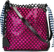 Marques'almeida Oversized Netted Shoulder Bag Women Cottonleather One Size, Women's, Black