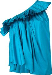 Marques'almeida Pleated One Shoulder Top Women Silk Xs, Blue