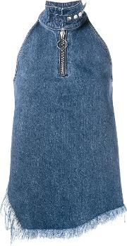 Marques'almeida Sleeveless Asymmetric Top Women Cotton S, Blue