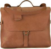 Flap Briefcase Men Leather One Size, Brown