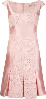 Lace Inserts Pleated Dress