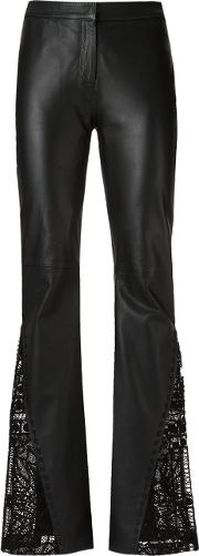 Leather Flared Trousers Women Leather 46, Black