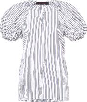 Puff Sleeve Striped Blouse