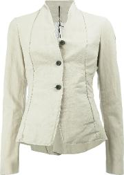 Button Front Fitted Jacket Women Cottonlinenflaxresin 42, Nudeneutrals
