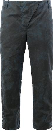 Cropped Distressed Effect Trousers Women Cotton 42, Blue