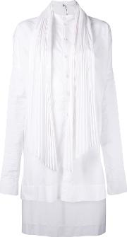Pleated High Low Dress Women Cottonpolyester 42, White