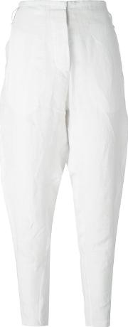 Tapered Trousers Women Linenflax 40, Women's, White