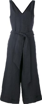 Belted Cropped Jumpsuit Women Linenflax 40, Black