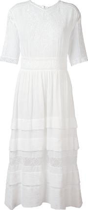 Long Embroidered Dress Women Cotton S, White
