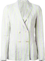 Double Breasted Blazer Women Linenflax S, Green
