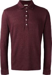 Longsleeved Polo Shirt Men Linenflax L, Red
