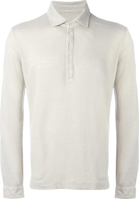 Longsleeved Polo Shirt Men Linenflax S, Nudeneutrals