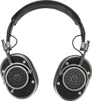 Over The Head Headphones Unisex Calf Leathersilver Plated Metal One Size, Black