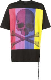 Colour Block Skull Print T Shirt