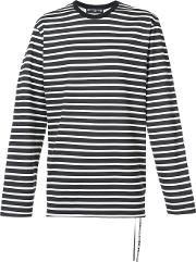 Striped Long Sleeve T Shirt With Skull Print Back