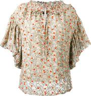 Floral Embroidered Blouse Women Cottonnylonpolyester 42, Women's