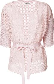 Openwork Lace Belted Cardigan